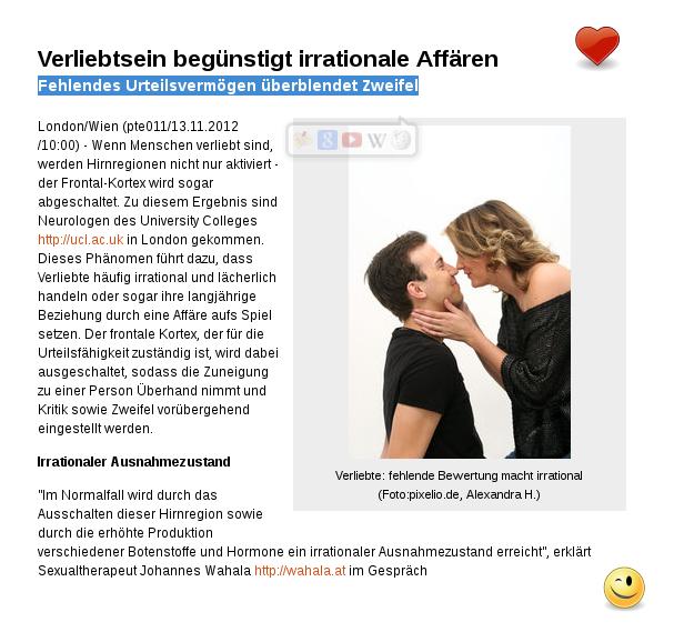 Liebe macht blind: Verliebtsein begünstigt irrationale Affäre!