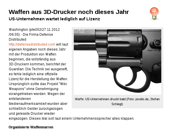 Waffen aus 3D-Drucker noch dieses Jahr!