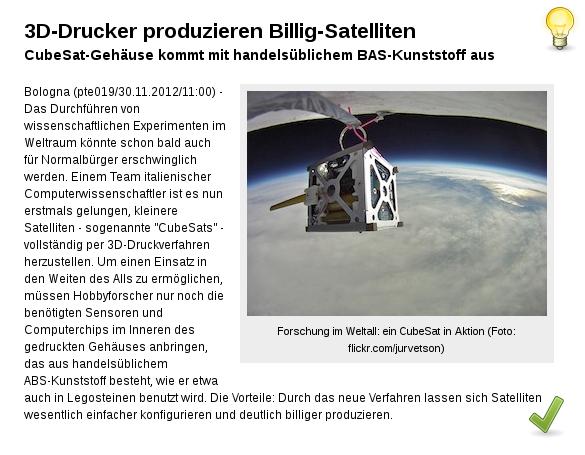 CubeSats sind kleine würfelförmige Satelliten!