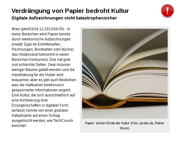Papier: sichert Erhalt der Kultur!
