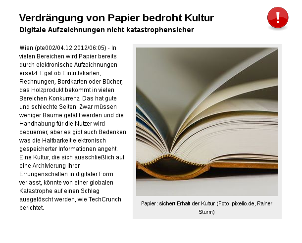 [ Rückfall!? } Verdrängung von Papier bedroht Kultur!
