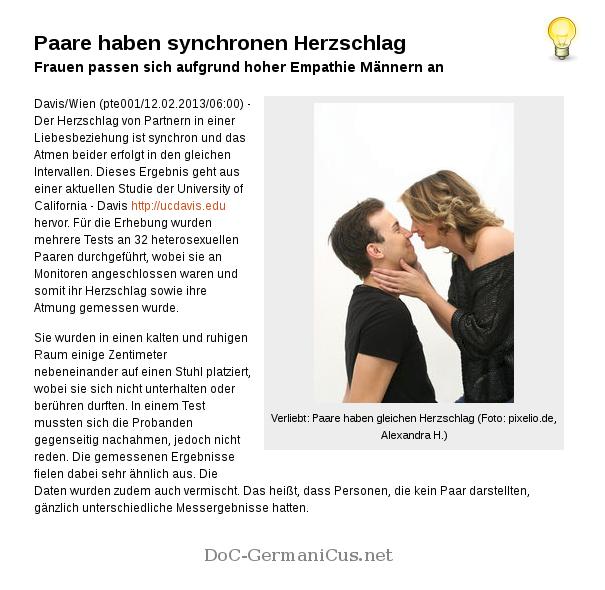 [ 1+1=1 !? } Paare haben synchronen Herzschlag!
