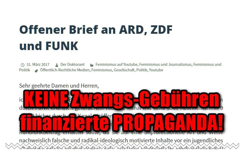 """Der Doktorant: Offener Brief an ARD, ZDF und FUNK"""" https://derdoktorant.wordpress.com/2017/03/31/offener-brief-an-ard-zdf-und-funk/ -"""
