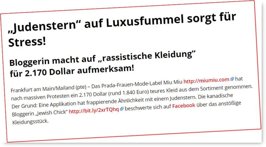 """[ Rassismus.!? } """"Judenstern"""" auf Luxusfummel  erregt die Gemüter!"""